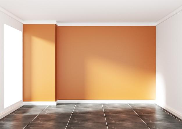 Empty room with orange wall on black granite floor. 3d rendering