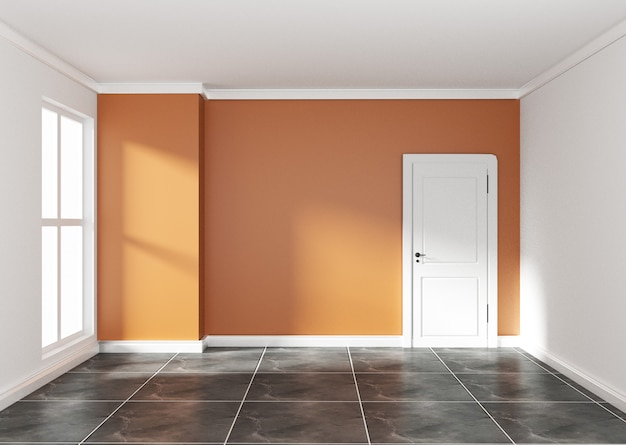 Empty room with orange wall on black granite floor. 3d rendering