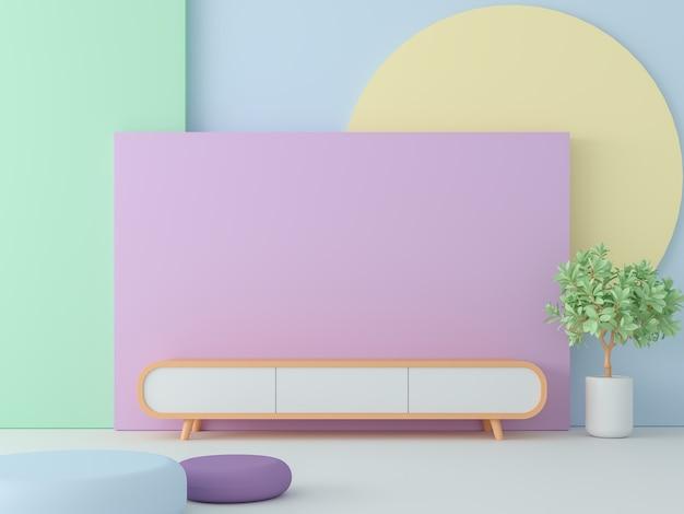 Пустая комната с пастельным цветом 3d-рендера, украсить стену красочным геометрическим объектом