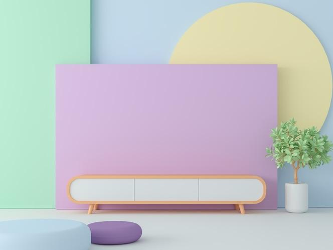 stanza vuota con rendering 3d a colori pastello, decorare la parete con oggetti geometrici colorati
