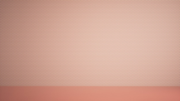 Empty room with peach wall design, 3d render background