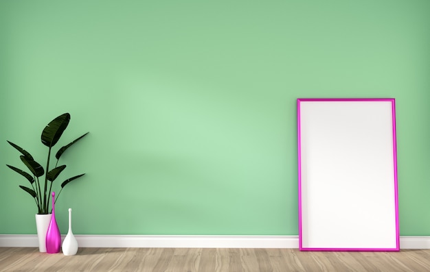Empty room with pink frame on hardwood floor and green wall 3d rendering