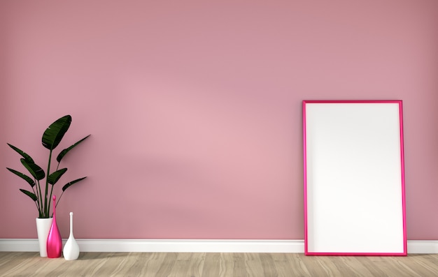 Empty room with pink frame on hardwood floor and pink wall 3d rendering