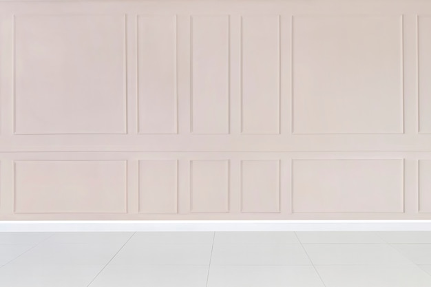 Empty room with pink patterned wall mockup