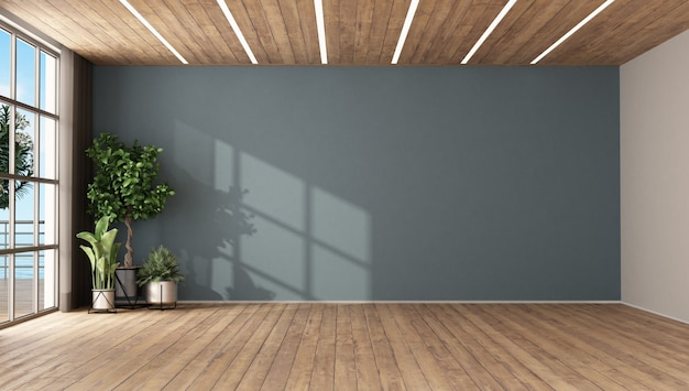 Пустая комната с растениями и синей стеной