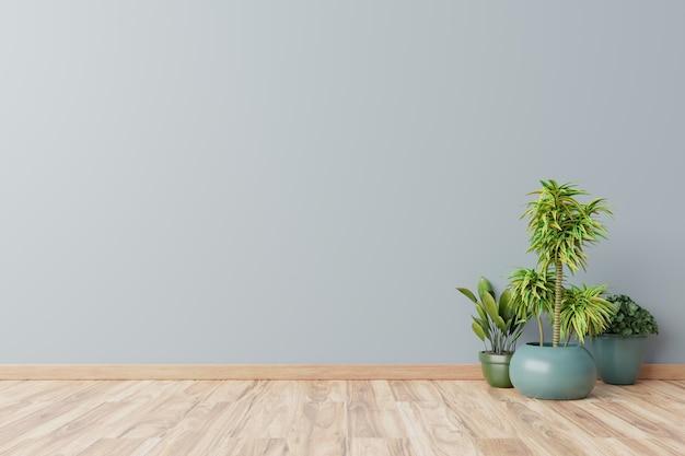 Empty room with plants mockup have wooden floor,3d rendering