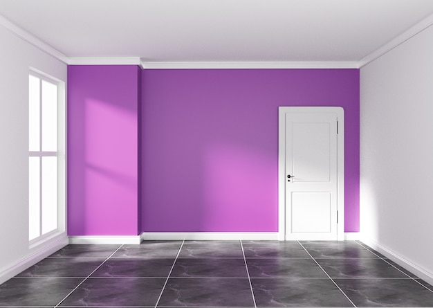 Empty room with purple wall on black granite floor. 3d rendering