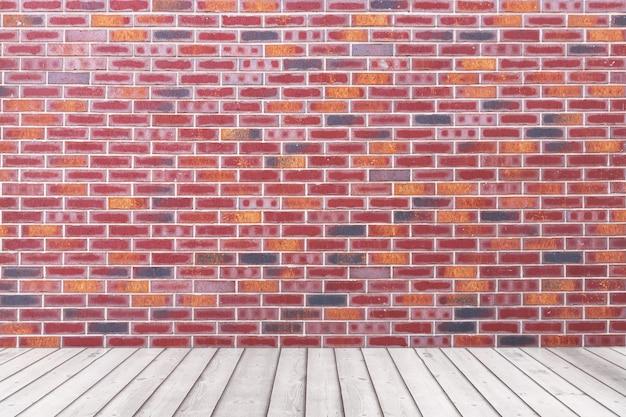 赤レンガのグランジ壁と板の木製の床の極端なクローズアップと空の部屋。 3dレンダリング