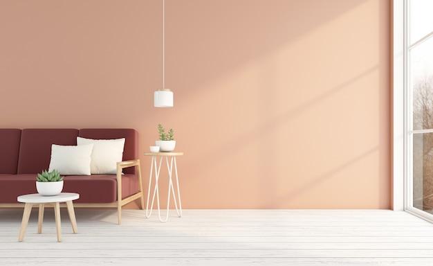 소파와 사이드 테이블, 밝은 오렌지색 벽, 흰색 나무 바닥이 있는 빈 객실입니다. 3d 렌더링