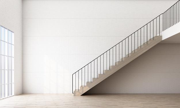 Пустая комната с лестницей и окном
