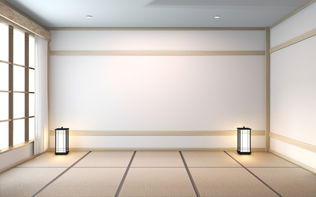 Empty room with tatami mat