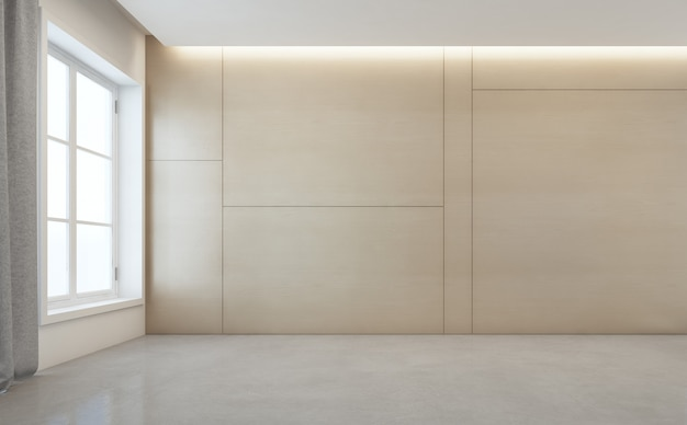 Empty room with white concrete floor and wooden wall in modern house.