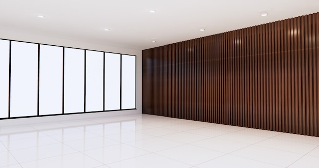 The empty room with white floor on wall wooden design.3d rendering