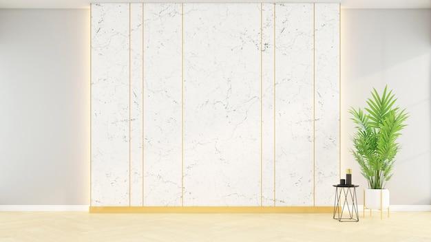 흰색 대리석 벽과 나무 바닥, 3d 렌더링이 있는 빈 객실입니다.