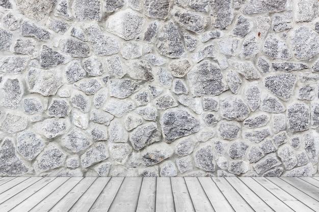 白い石のグランジの壁と板の木製の床の極端なクローズアップと空の部屋。 3dレンダリング