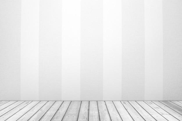 白い縞模様の壁紙の壁と板の木製の床の極端なクローズアップと空の部屋。 3dレンダリング
