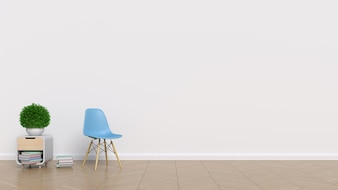 Empty room with white wall and chair