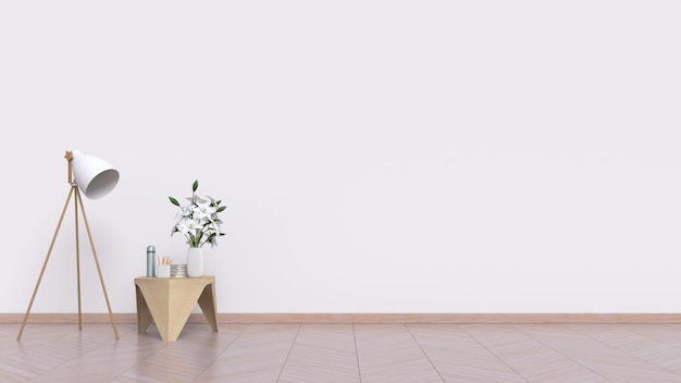 Empty room with white wall and lamp on floor wooden