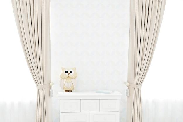Empty room with a white wall mockup kids mockup