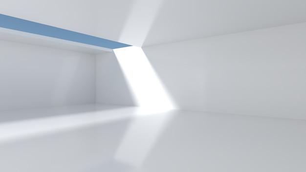 하늘이 내려다 보이는 천장에 흰 벽과 개구부가있는 빈 방입니다. 방에 광선이 있었다. 쇼룸 개념 및 창고. 3d 렌더링