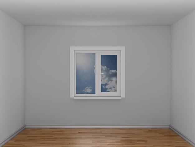 창 빈 방입니다. 3d 일러스트레이션