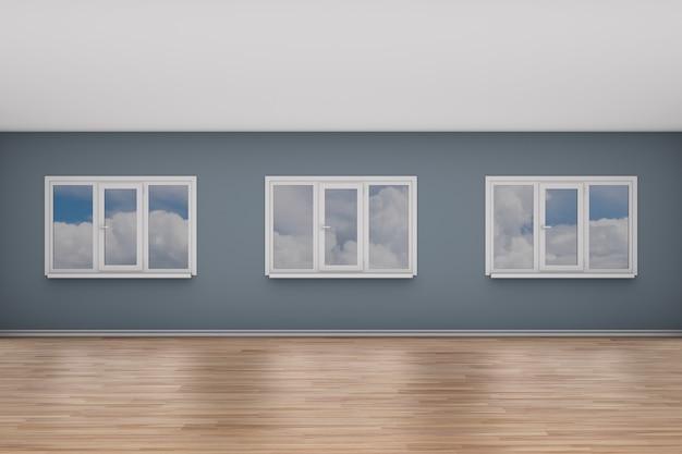 窓のある空の部屋。 3dイラスト