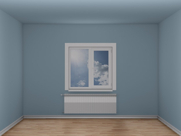 창문과 난방 라디에이터가있는 빈 방. 3d 일러스트레이션