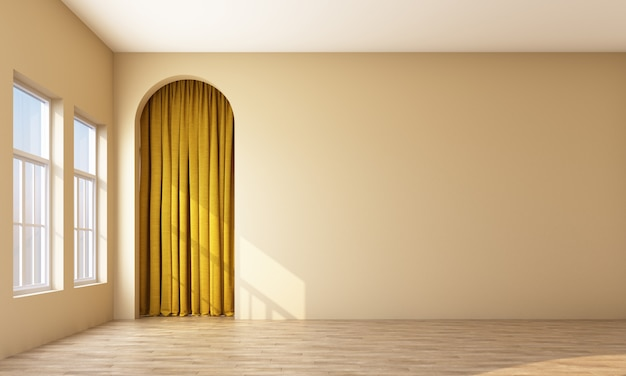 Empty room with window and arch with curtain