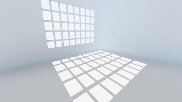 Пустая комната с фоном окна, 3d визуализация