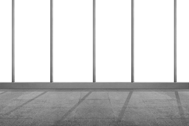 Empty room with window glass with a white background