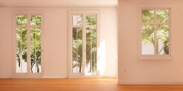 Пустая комната с окнами и прекрасным видом