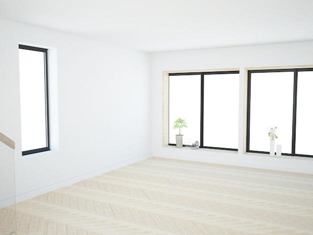 Пустая комната с окнами и деревянными вставками