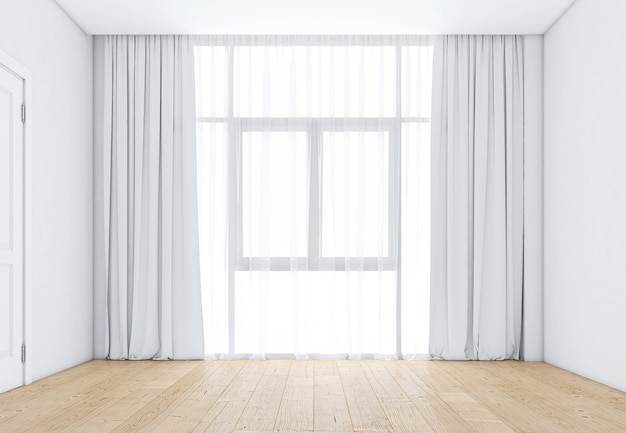 Empty room with windows and white curtains, wooden floor. 3d rendering