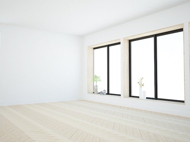 Empty room with windows and wooden accents