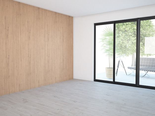 Empty room with windows and wooden wall