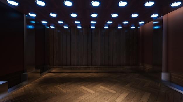 Tv 스튜디오 3d 렌더링을위한 나무 벽과 빈 방