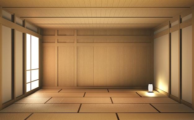 Пустая комната дерево на деревянный пол японский дизайн интерьера. 3d-рендеринг