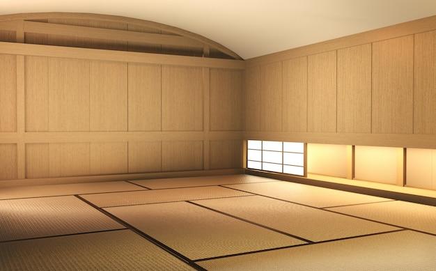 Empty room wood on wooden floor japanese interior design.3d rendering