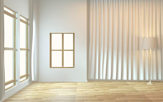Empty room zen minimal design. 3d rendering