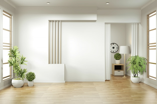 Empty room zen minimal design. 3d rendering