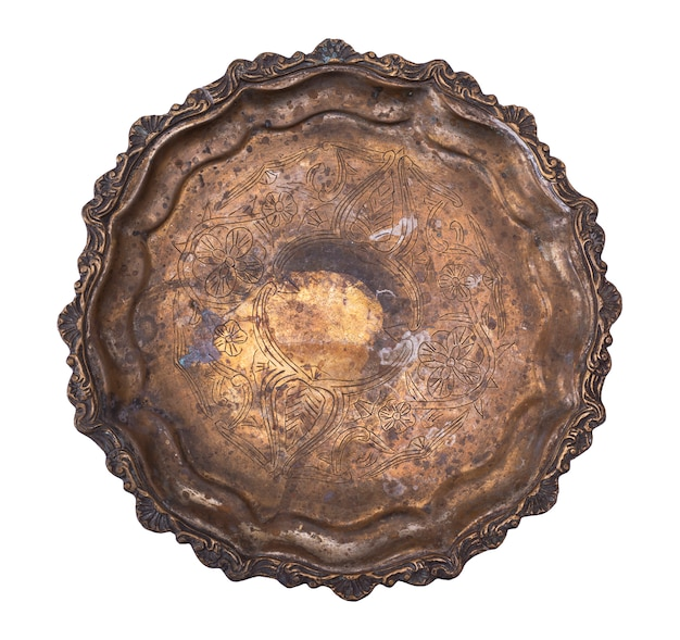 Empty round copper plate isolated on white background