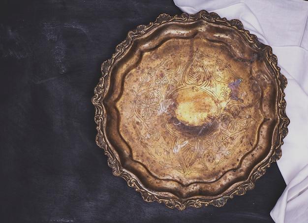 Empty round copper plate