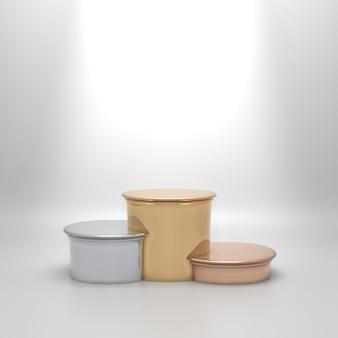 Пустой круглый подиум золотого, серебряного и бронзового цветов, обозначающий первое, второе и третье места