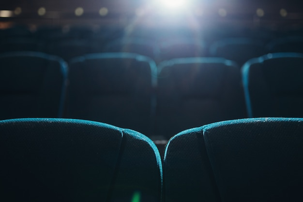 Empty rows of seats in cinema or theater