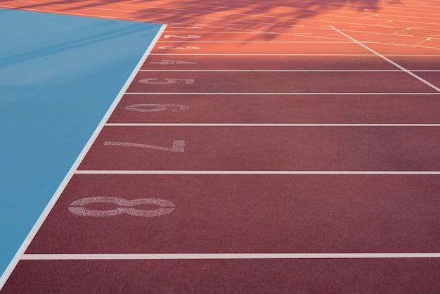 Empty running track in the stadium