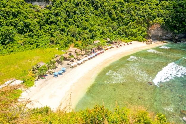 Пустой песчаный пляж с зонтиками от солнца на тропическом острове в джунглях