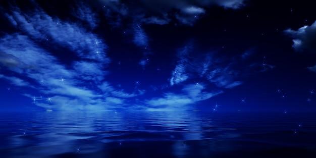 빈 장면 배경 물에 달의 어두운 하늘 반사