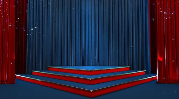 Пустая сцена с синим и золотым постаментом