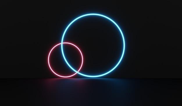 円と青紫のネオン管の光る光の空のsf部屋