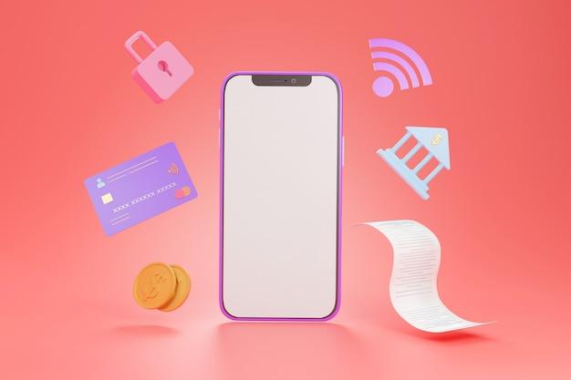 インターネットバンキングと安全なオンライン支払いの概念のためのクレジットカード経由の空の画面のスマートフォン、3dレンダリング
